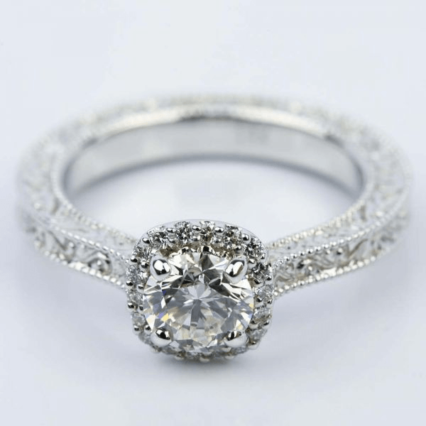 Scroll-Work Milgrain Halo Diamond Engagement Ring