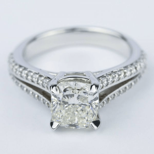 Split Shank Cushion Diamond Engagement Ring