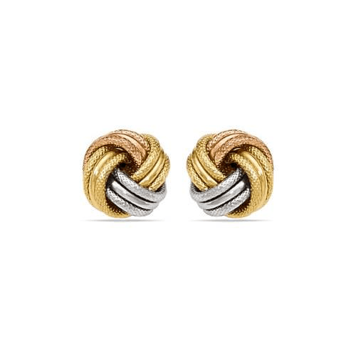 Tri-tone Gold Love Knot Stud Earrings