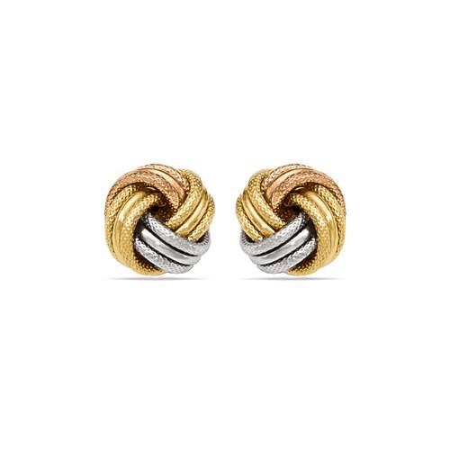 Tri-tone Gold Love Knot Stud Earrings