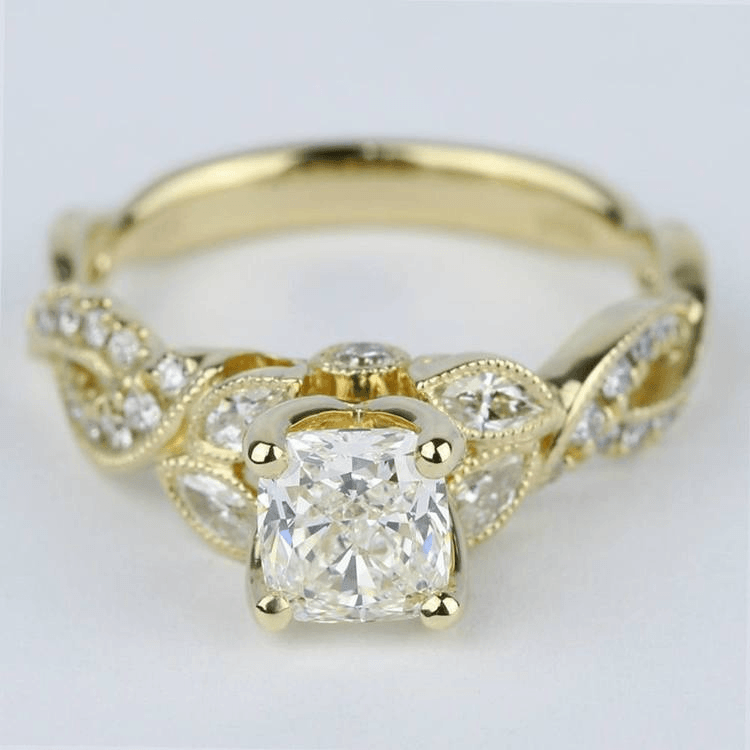 Vintage Leaf & Vine Engagement Ring with Cushion Diamond