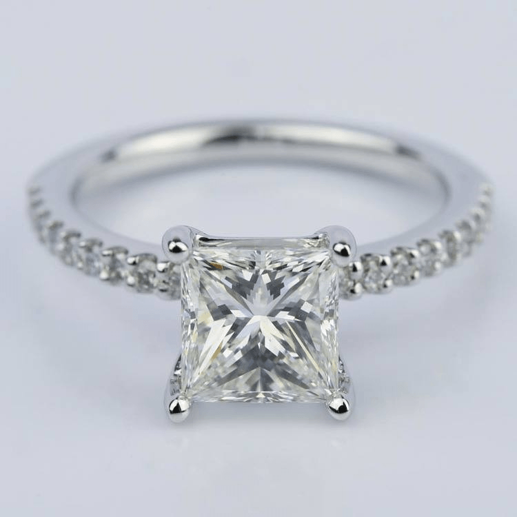 1.56 Carat Princess Diamond Scallop Engagement Ring