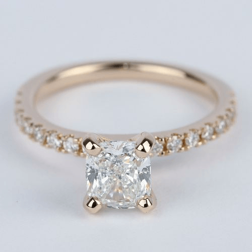 Cushion Pave Diamond Engagement Ring in 18K Rose Gold