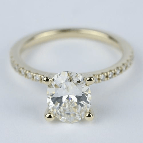 2 Carat Oval Diamond with Petite Pave Engagement Ring