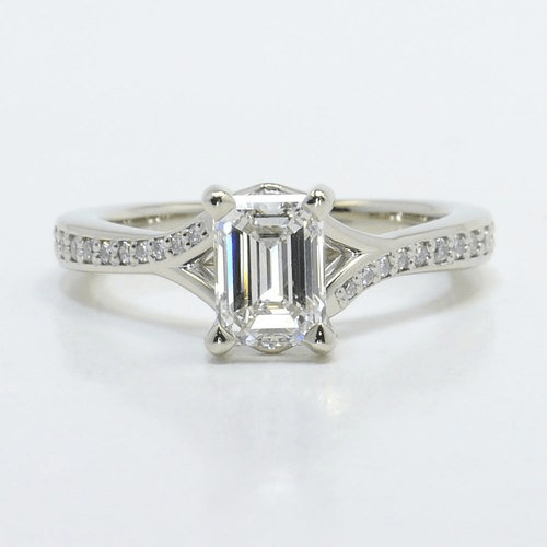 Split Shank Micropave Emerald Engagement Ring