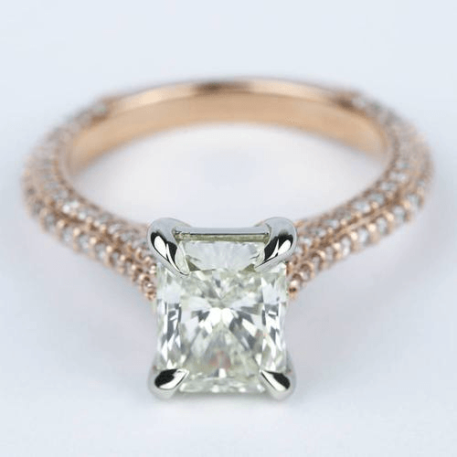 Radiant Diamond Engagement Ring in Rose Gold & Platinum