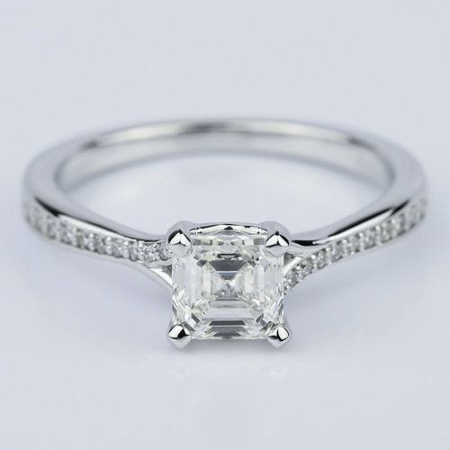 Split Shank Micropave Asscher Diamond Engagement Ring