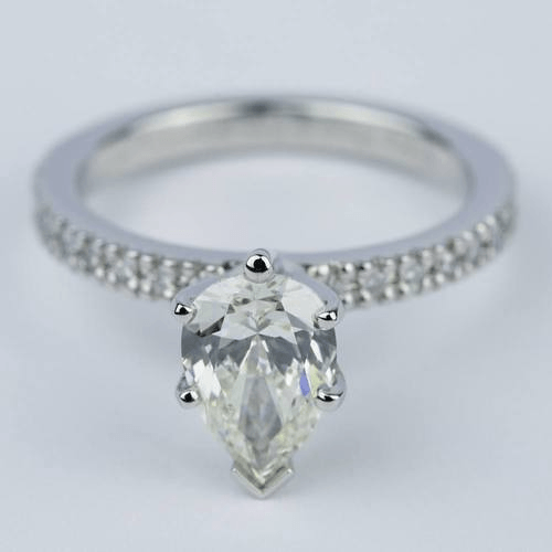 Petite Pave Pear Diamond Engagement Ring