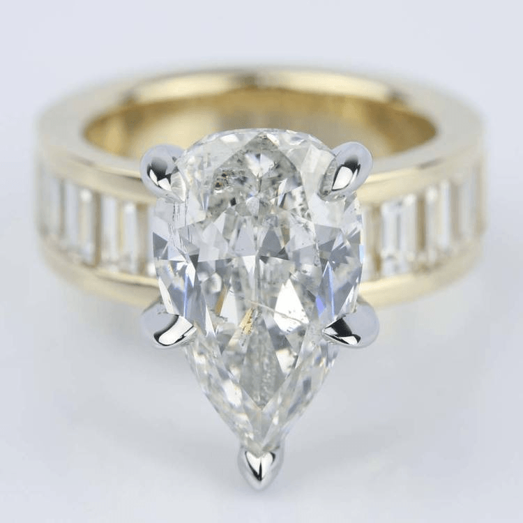 Pear Cut and Baguette Diamond Engagement Ring