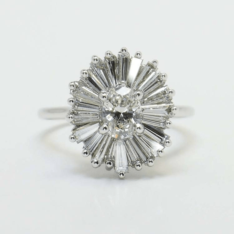 Flower Ring with Tapered Baguette Side Stones