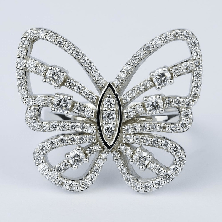 Custom Butterfly-Shaped Diamond Ring
