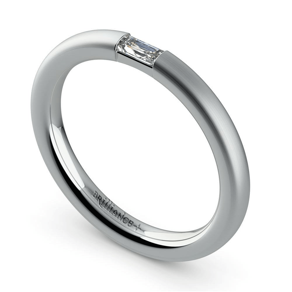 Satin Baguette Promise Ring in White Gold