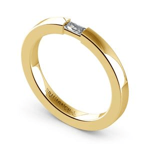 Contemporary Promise RIng with Baguette Diamond