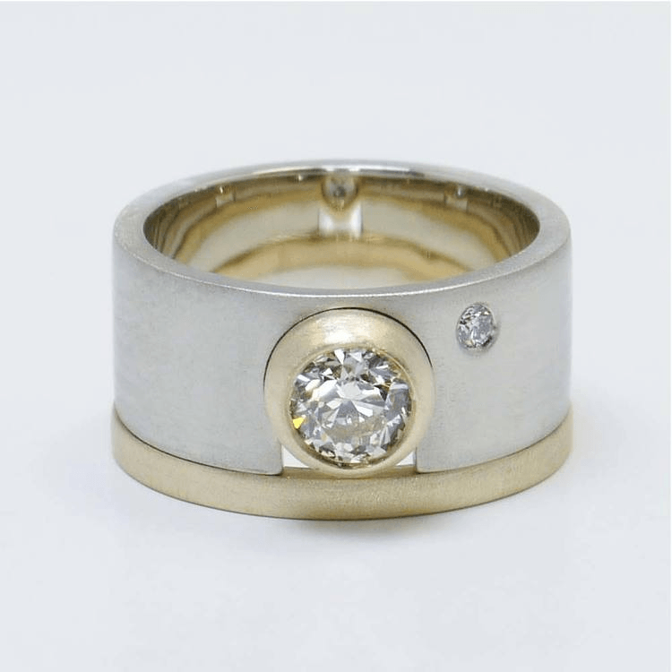 Two Tone Bezel Accent Solitaire Engagement Ring and Matching Band