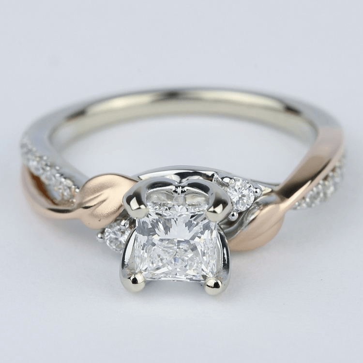 Two-Tone Brushed Leaf Diamond Engagement Ring