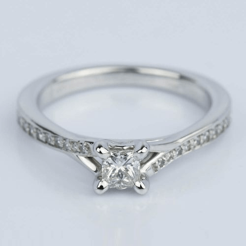 Split Shank Micropave Princess Engagement Ring