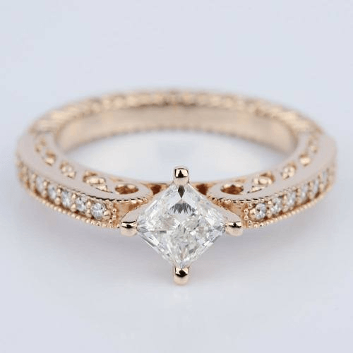 Antique Filigree PRincess Diamond Engagement Ring in Rose Gold