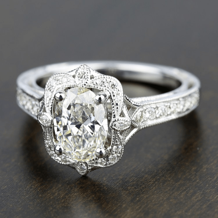 Antique Lyria Bloom Halo Diamond Engagement Ring By Parade