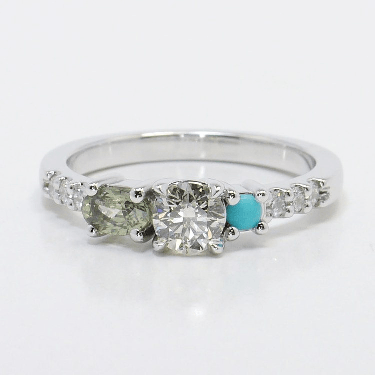 Asymmetrical Custom Diamond and Gemstone Ring