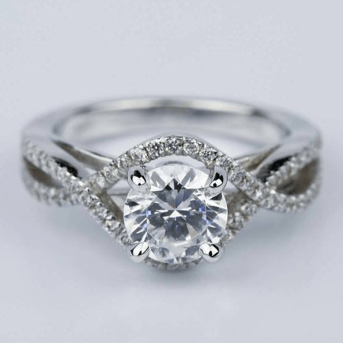 Cross Split Shank Engagement Ring with Moissanite Center Stone