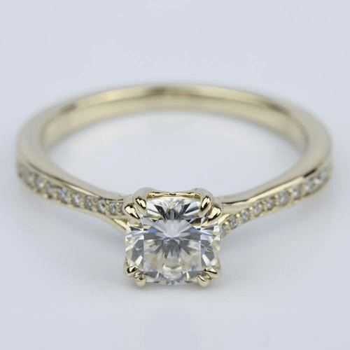 Cushion Moissanite Split Shank Diamond Engagement Ring