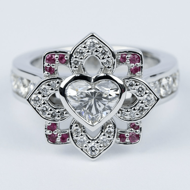 Custom Heart Diamond and Pink Sapphire Engagement Ring