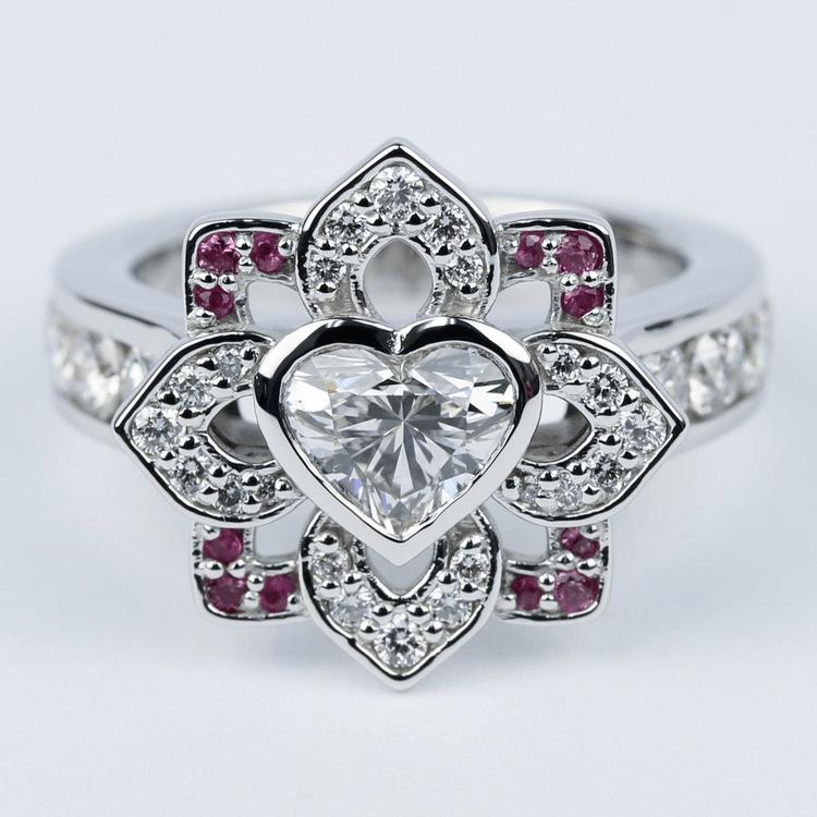 Custom Heart Diamond and Pink Sapphire Engagement Ring
