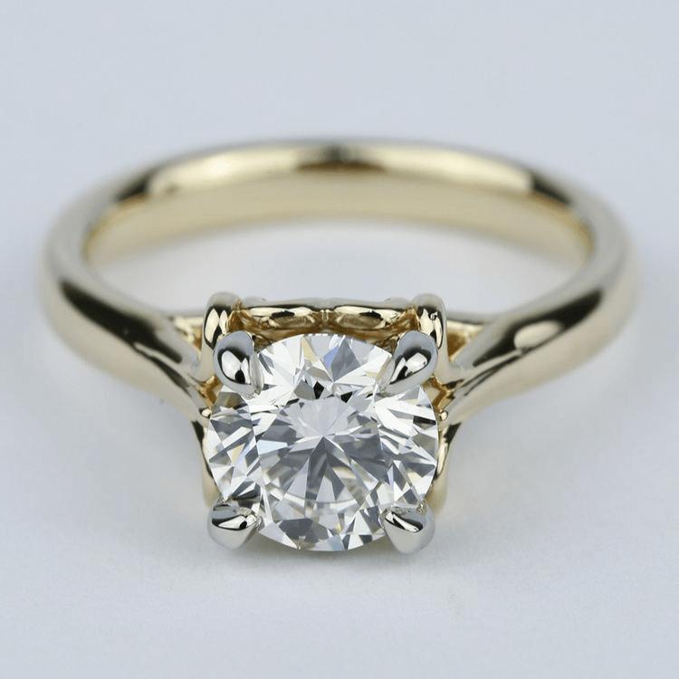 Custom Two-Tone Swirl Diamond Engagement Ring