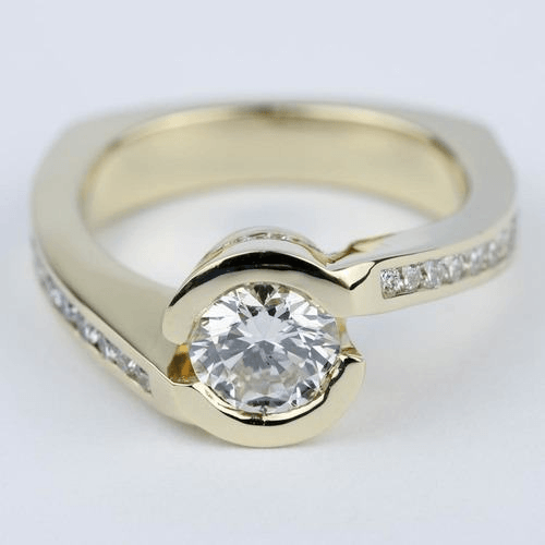 Custom Diamond Engagement Ring in Yellow Gold