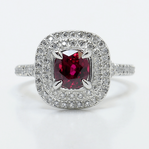French-Cut Double Halo Ring with Ruby Center