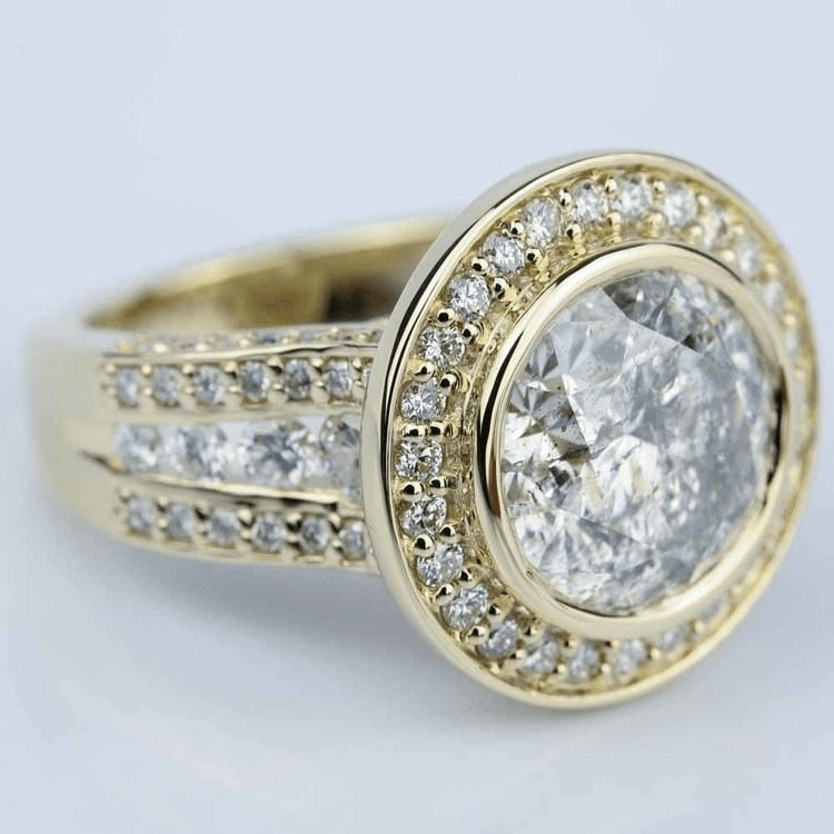 Halo Bezel Diamond Engagement Ring in Yellow Gold