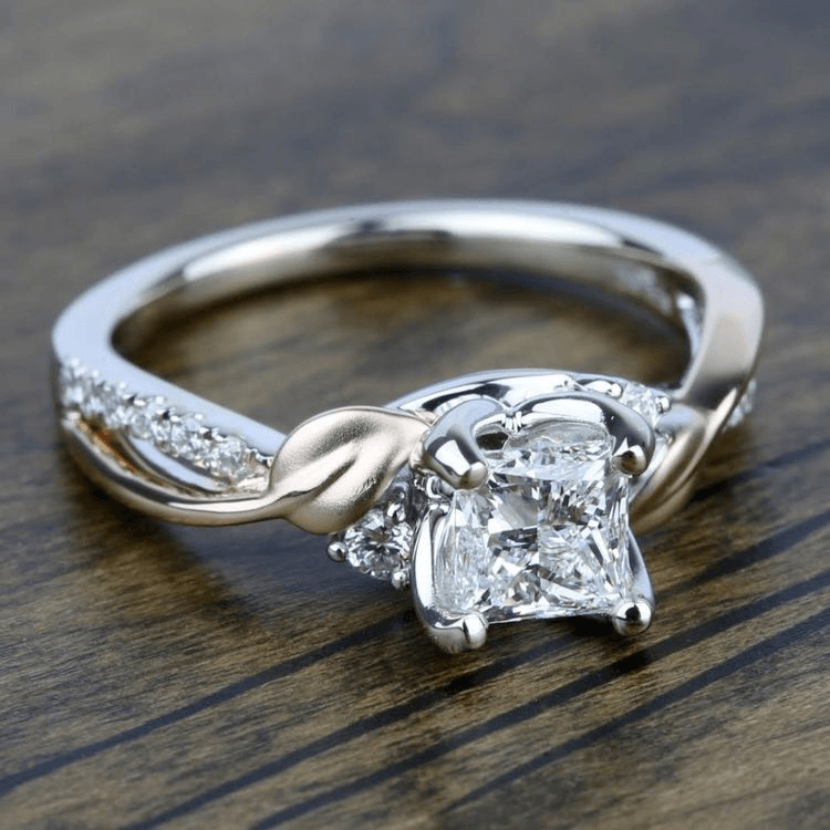 new leaves three stone diamond engagement ring by paradepng - Wedding Ring Designers