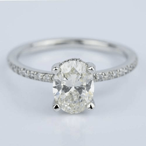 Oval Engagement Ring with Diamond Drop Halo and Baset