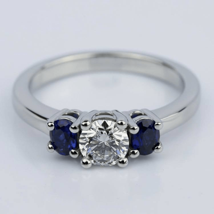 Oval Sapphire Gemstone Engagement Ring in Palladium