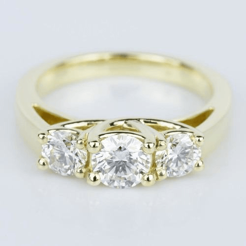 Trellis Three Diamond Engagement Ring in Yellow Gold