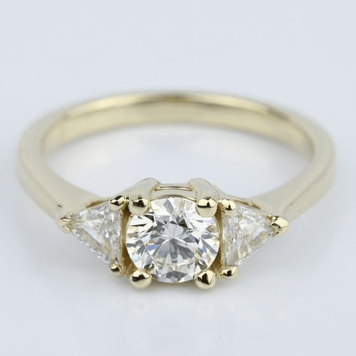 Trillion Three-Diamond Engagement Ring in Yellow Gold
