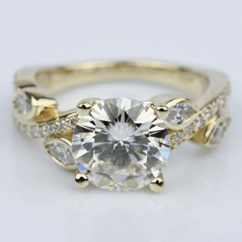 Twisted Petal Moissanite Gemstone Engagement Ring