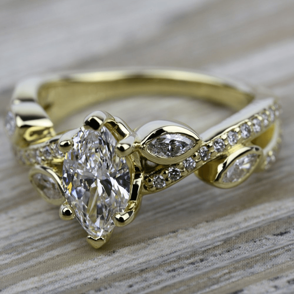 marquise draped in regal brocade - Marquise Wedding Rings