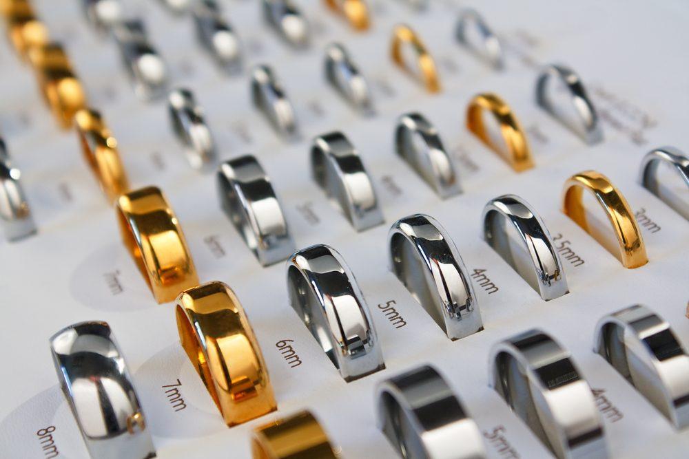 An assortment of men's rings in various widths