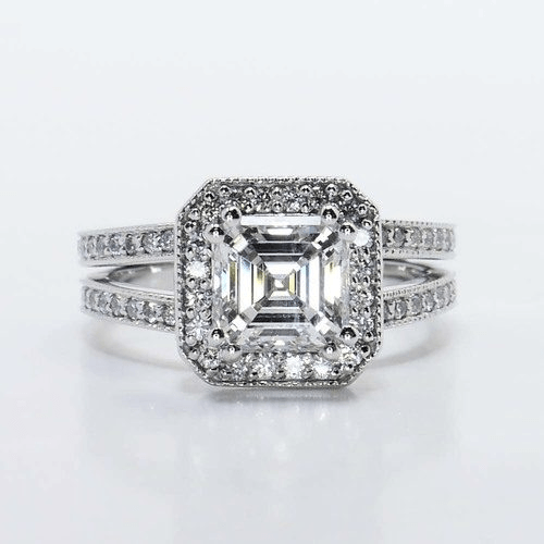 Asscher Cut Diamond in Halo Setting