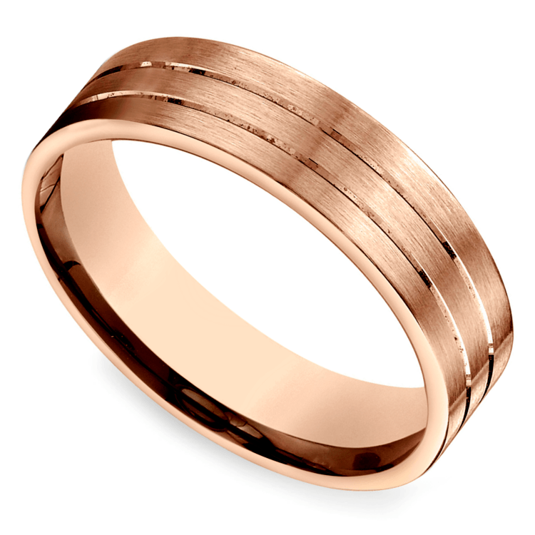 Carved Satin Men's Band in Rose Gold
