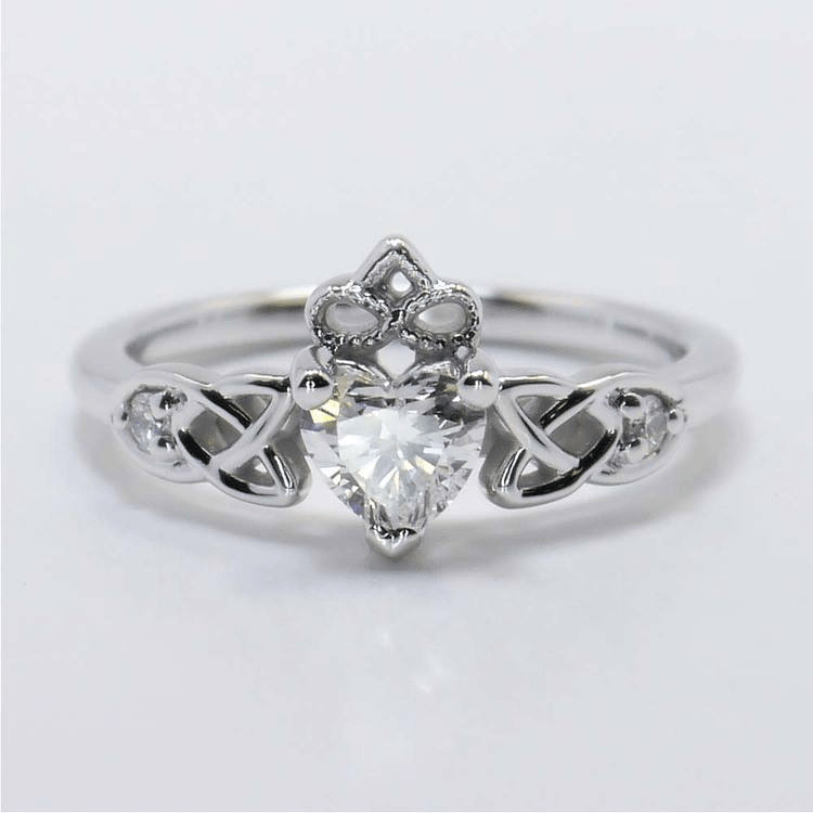 Celtic Claddagh Ring in White Gold