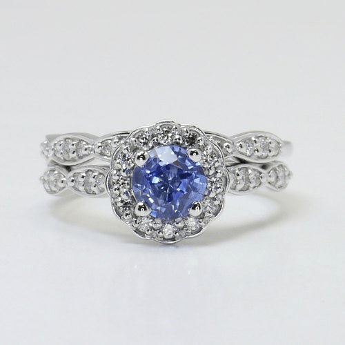 Crescent Halo Engagement Ring & Wedding Band with Sapphire Center