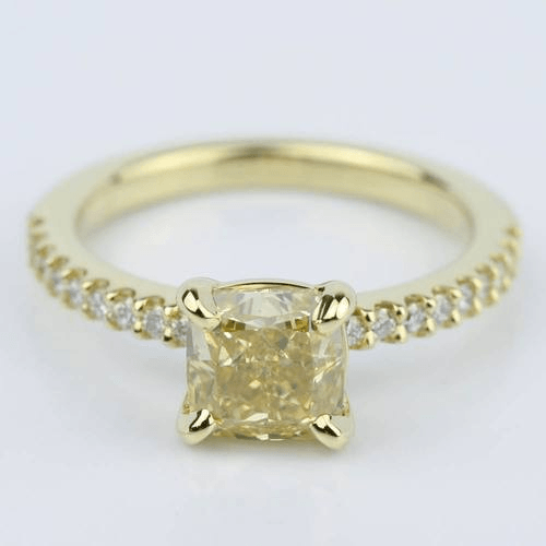 Fancy Yellow Cushion Diamond Engagement Ring