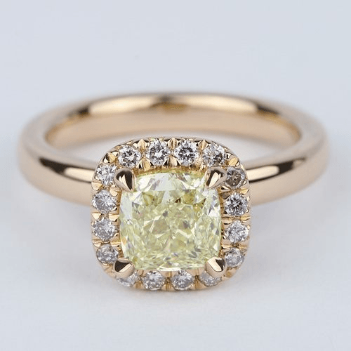 1.5 Carat Fancy Yellow Cushion Diamond Halo Engagement Ring