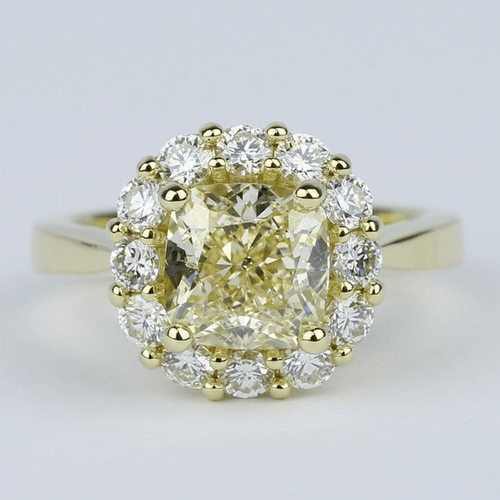 Fancy Yellow Cushion Diamond Engagement Ring with Floral Halo