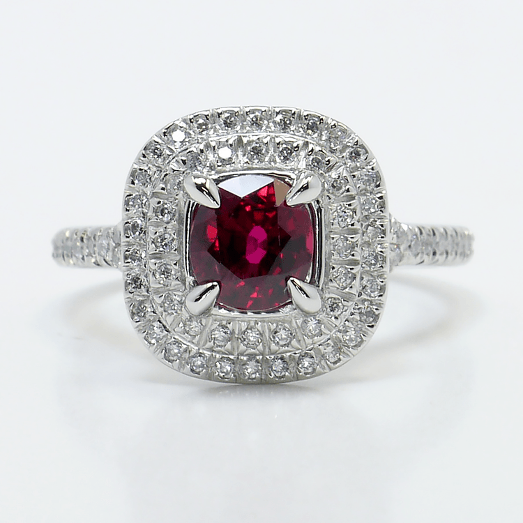 French Cut Double Halo Engagement Ring with Ruby Center Stone