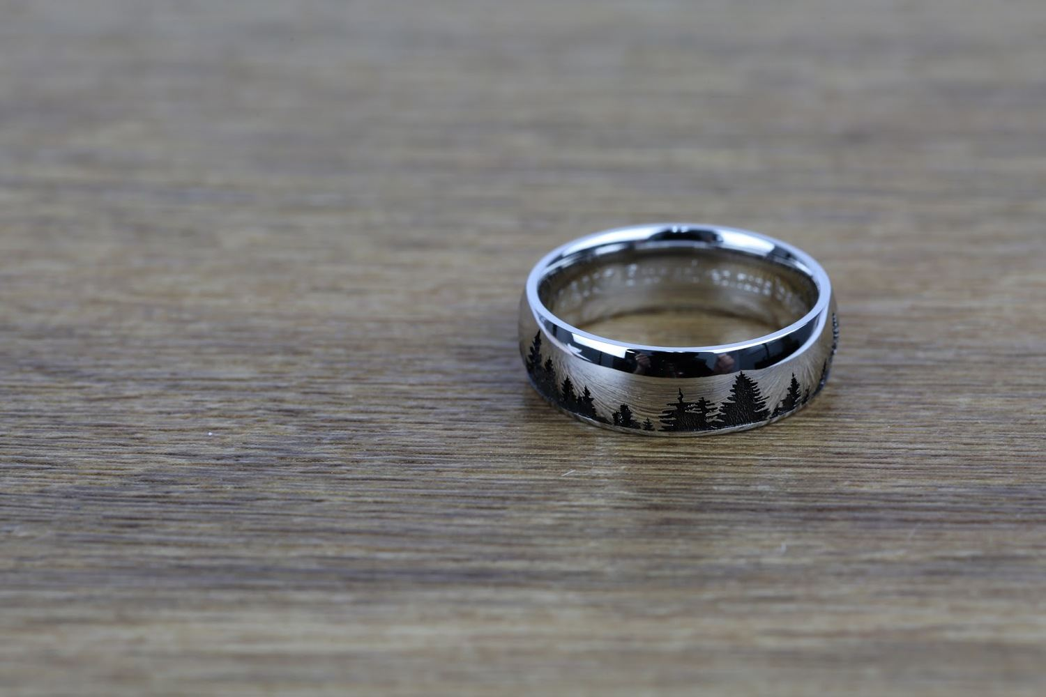 Laser Carved Forest Pattern Men's Wedding Ring