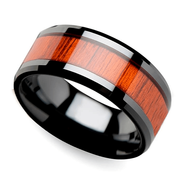 Paduak Real Wood Inlay Men's Beveled Ring in Black Ceramic