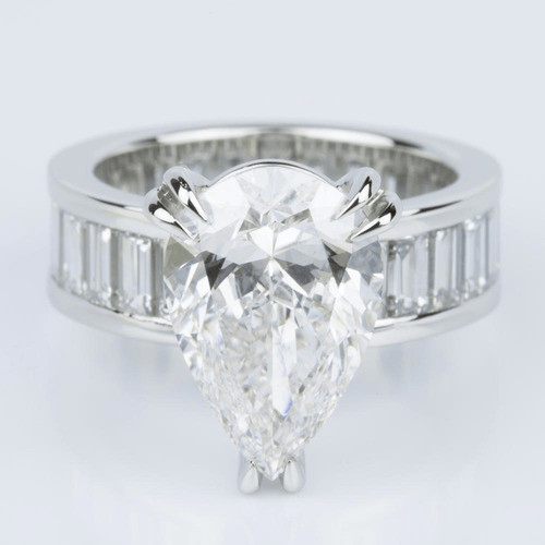 Custom Pear-Cut Diamond & Baguette Eternity Engagement Ring